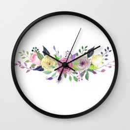 Posy ROSE AND RED Painted - bouquet, nosegay, flower Wall Clock