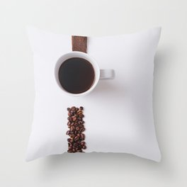 COFFEE - BEANS - CUP - PHOTOGRAPHY Throw Pillow