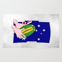 rugby Area & Throw Rugs featuring Australia Rugby Ball by mailboxdisco