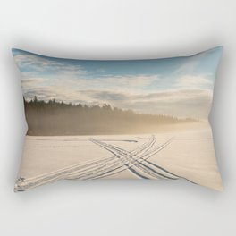 Crossing tracks on snow covered frozen lake Rectangular Pillow