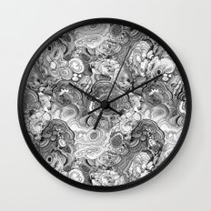 Malachite black and white Wall Clock
