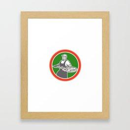 Baker Holding Peel With Pizza Circle Retro Framed Art Print