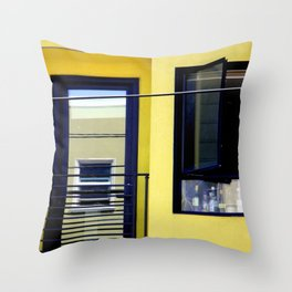 Second And Third Floor Windows With Door Throw Pillow