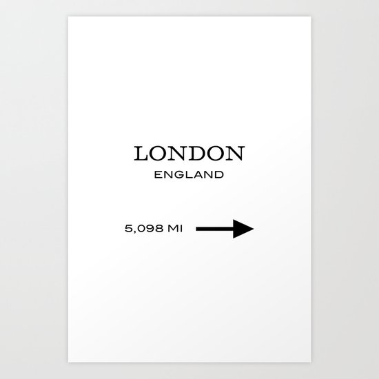 This Way To London Typography Art Print