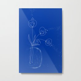 Flowers Abstract Doodles Drawing on blue   Metal Print