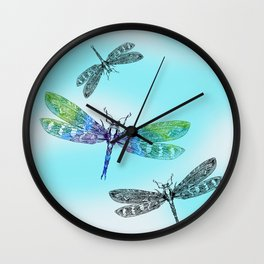 Dragonflies and Blue Skies Wall Clock