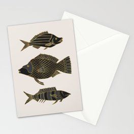 Fantastical Fish 2 - Black and Gold Stationery Cards