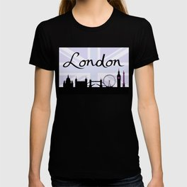 London Script on Union Jack Sky & Sites Purple T-shirt