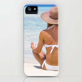 Young lady sitting on the shore in Maldives iPhone Case