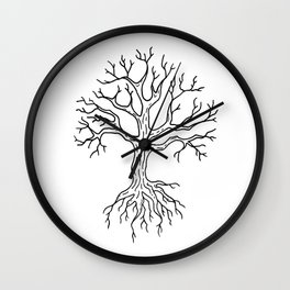 Leafless Rooted Tree Illustration Wall Clock