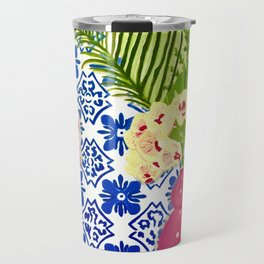 PINK PARROT AND PORTUGESE TILES Travel Mug