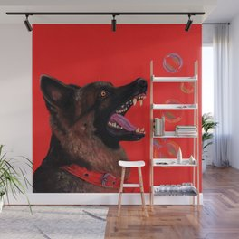 Hating those bubbles - A German Shepherd's rant Wall Mural