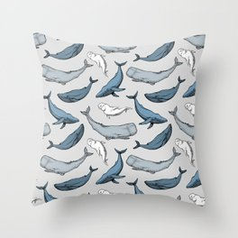 Whales are everywhere Throw Pillow