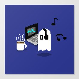 Chilling Napstablook With Laptop and Coffee Undertale Pixel Art Cute Canvas Print