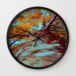 Old big tree in copper and turquoise Wall Clock