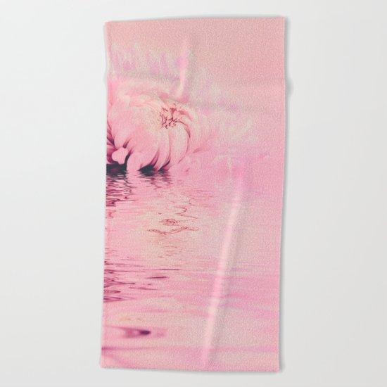 Romantic chrysanthemum flower soft pink pastel Beach Towel