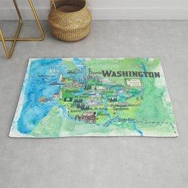 USA Washington State Illustrated Travel Poster Favorite Map Rug