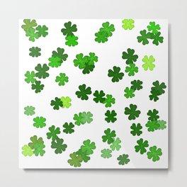Shamrocks Falling - Pattern for Saint Patricks Day Metal Print