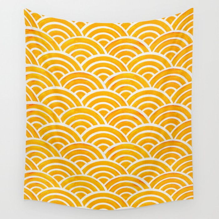 Japanese Seigaiha Wave – Marigold Palette Wall Tapestry