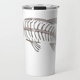 King Salmon Skeleton Drawing Travel Mug