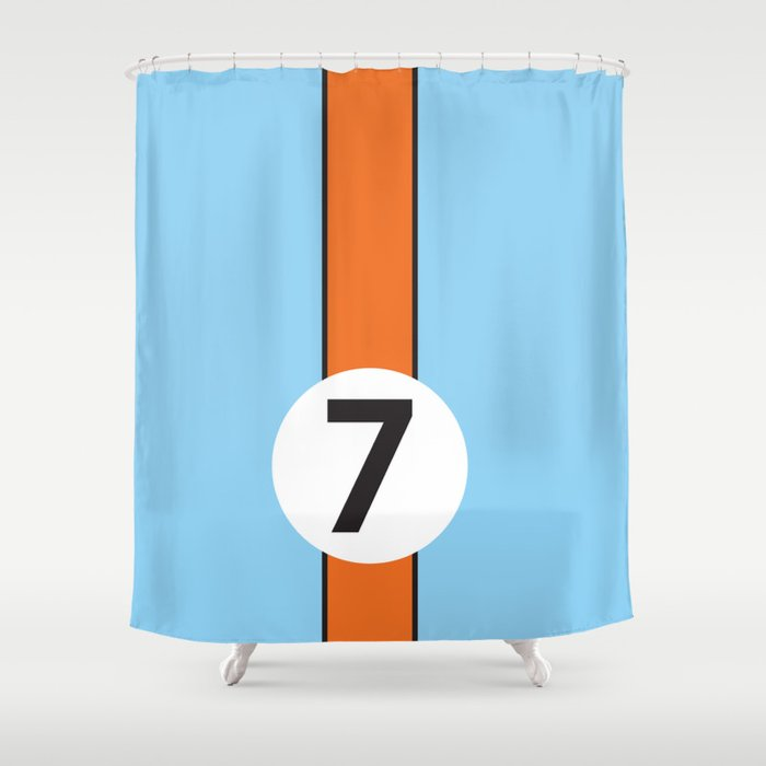Gulf Racing Ford GT40 Le Mans 24 Hours Shower Curtain By Racingshirt