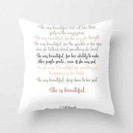 She Was Beautiful By F. Scott Fitzgerald 3 #minimalism #poem Throw Pillow