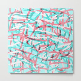 Coral Pink Aqua Blue Abstract Artsy Pattern Metal Print