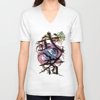 dragon V-neck T-shirts featuring Dragon by Spooky Dooky