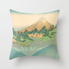 Reflection in Lake at Misaka in Kai Province, Thirty-six Views of Mount Fuji by Katsushika Hokusai Throw Pillow