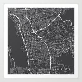 Chula Vista Map, USA - Gray Art Print