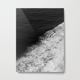 BLACK AND WHITE - OCEAN - WAVES - SEA - ROCKS - DARK - WATER Metal Print