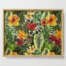 Tropical Vintage Exotic Jungle Flower Flowers - Floral watercolor pattern Serving Tray