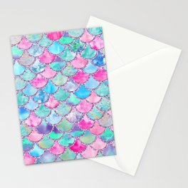 Colorful Pink and Blue Watercolor Trendy Glitter Mermaid Scales  Stationery Cards