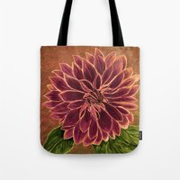 dahlia Tote Bags featuring Dahlia  by maggs326