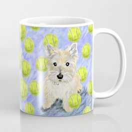 Miss Caroline the Cairn Terrier is Obsessed About Fetching Tennis Balls Coffee Mug