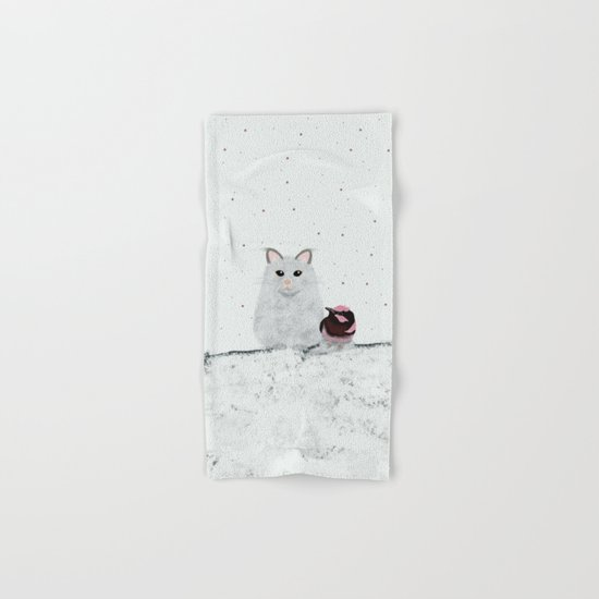 Cat And Bird Original Design Hand & Bath Towel