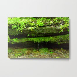 Fairy Home - Moss Covered Rock Waterfall Metal Print