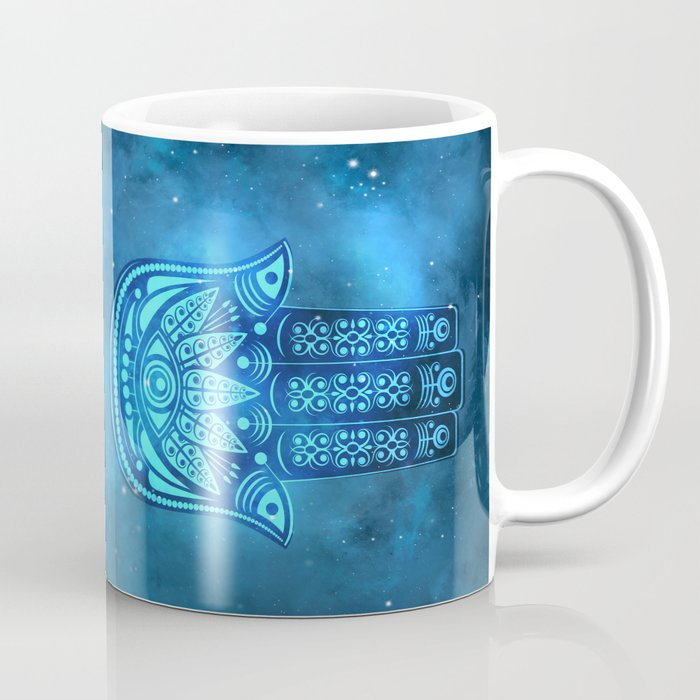 Hamsa Hand Magic Eye Blue Watercolor Art Coffee Mug