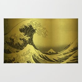 Golden Japanese Great Wave off Kanagawa by Hokusai Rug