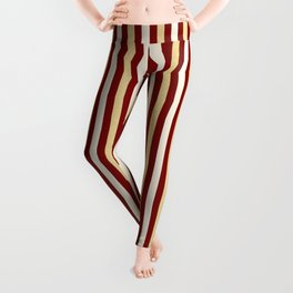 Gold and Wine Vertical Stripes Leggings