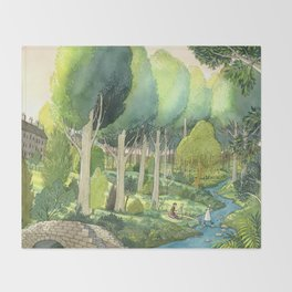 Painting By The Stream Throw Blanket