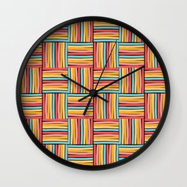 striped cubes weave Wall Clock