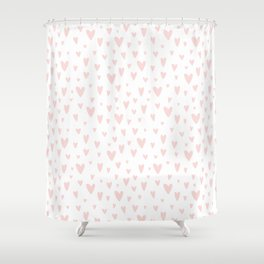 Blush pink white handdrawn watercolor romantic hearts pattern Shower Curtain