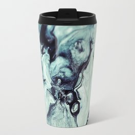 Black and White Marble Abstract Painting Travel Mug