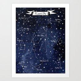 A Lover's  Sky / Constellations & Stars Art Print