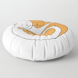 Heart Shaped Cats Love Orange and White Tabby Floor Pillow