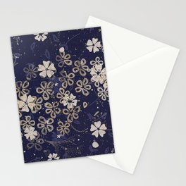 Vintage Japanese Papers: Midnight Blue Floral Pattern Stationery Cards