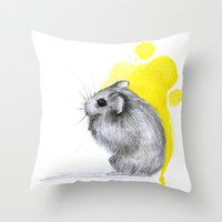 hamster Throw Pillows featuring hamster by Konstantina Louka