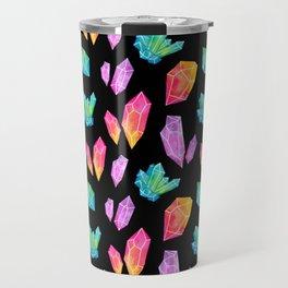 Watercolor Crystals // Black Travel Mug