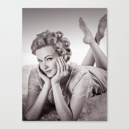 """Curlers Before Bed"" - The Playful Pinup - Lounging in Lace Pin-up Girl by Maxwell H. Johnson Canvas Print"